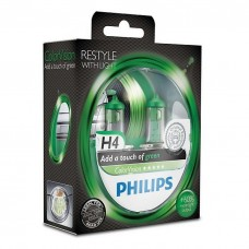 PHILIPS ColorVision green Галогенные лампы H4 12V 60/55W 2 шт.+ 60% 12342CVPGS2