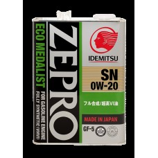 4L ZEPRO ECO MEDALIST 0W-20 SN/GF-5 Fully-Synthetic